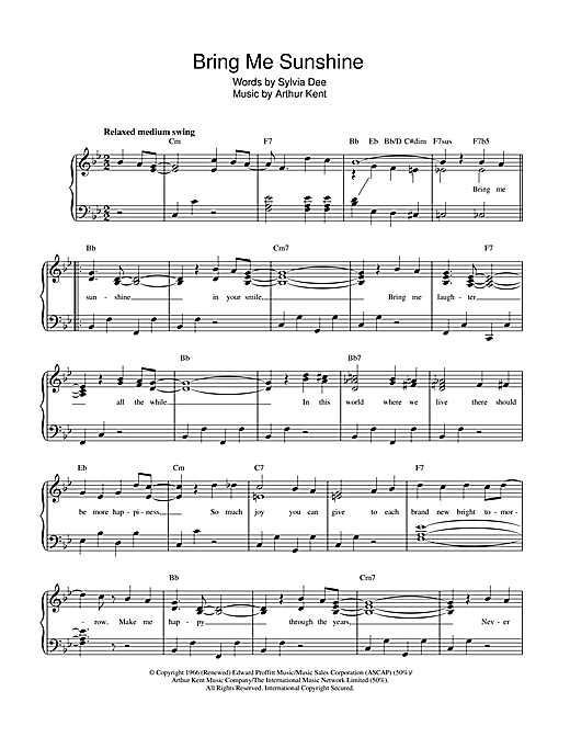 Morecambe & Wise Bring Me Sunshine sheet music notes and chords. Download Printable PDF.