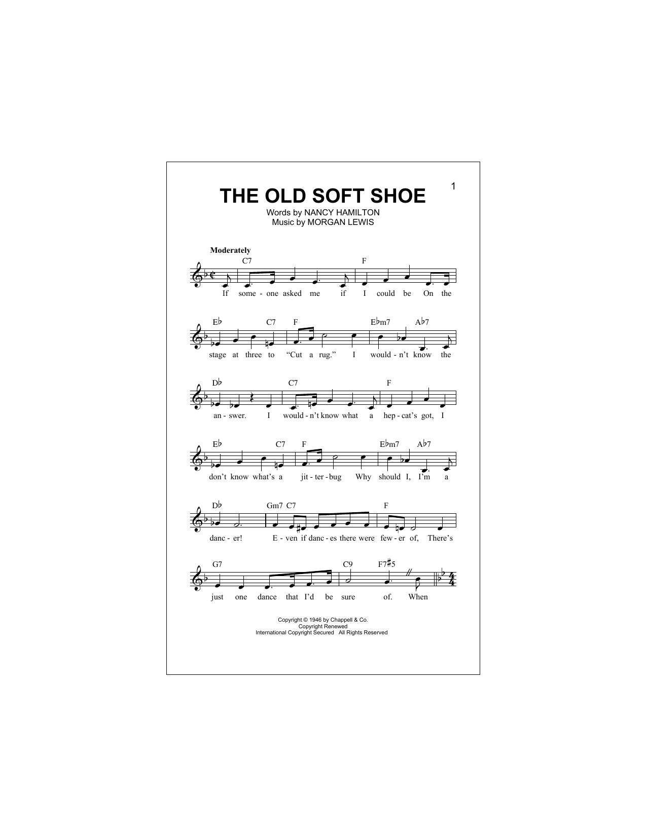 Morgan Lewis The Old Soft Shoe sheet music notes and chords. Download Printable PDF.