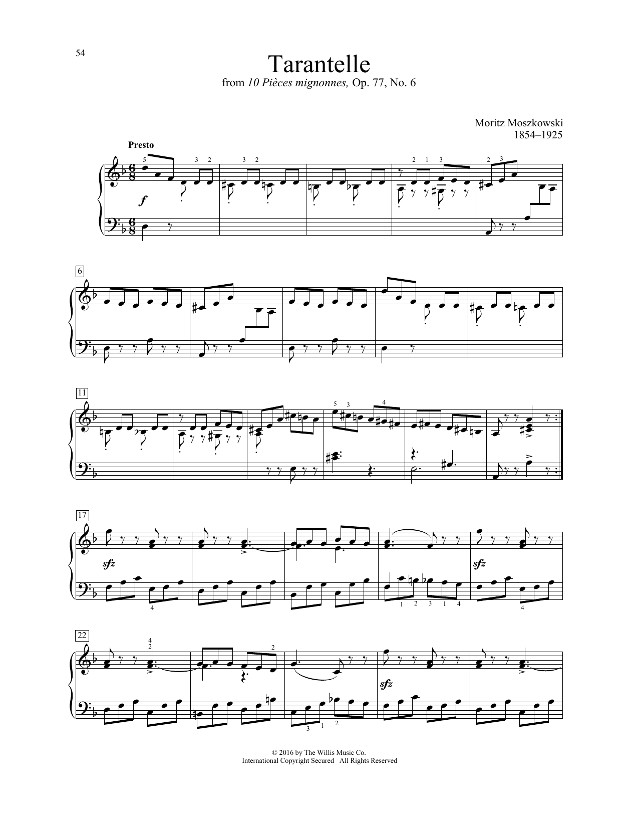 Moritz Moszkowski Tarantelle sheet music notes and chords. Download Printable PDF.