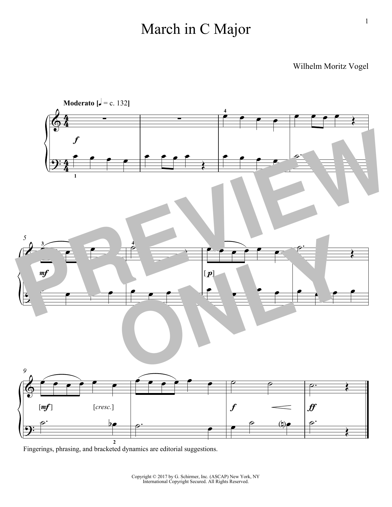 Moritz Vogel March In C Major sheet music notes and chords. Download Printable PDF.