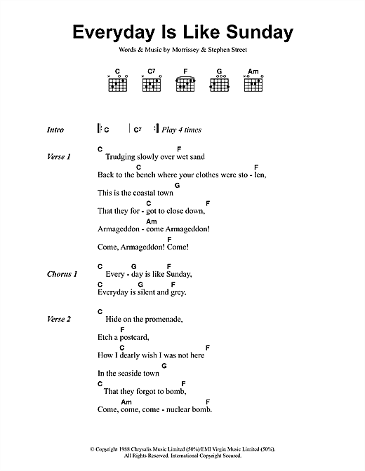 Morrissey Everyday Is Like Sunday sheet music notes and chords. Download Printable PDF.