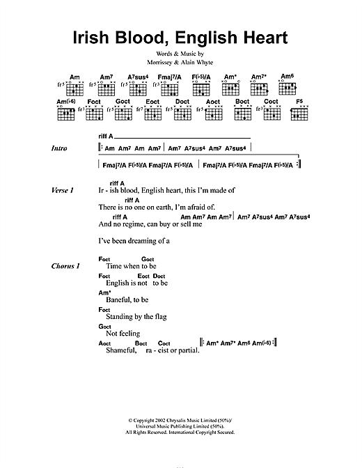 Morrissey Irish Blood, English Heart sheet music notes and chords. Download Printable PDF.