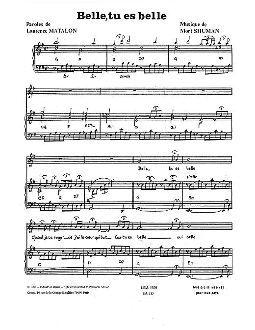 Mort Shuman Belle, Tu Es Belle sheet music notes and chords