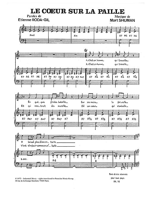 Mort Shuman Le Coeur Sur La Paille sheet music notes and chords