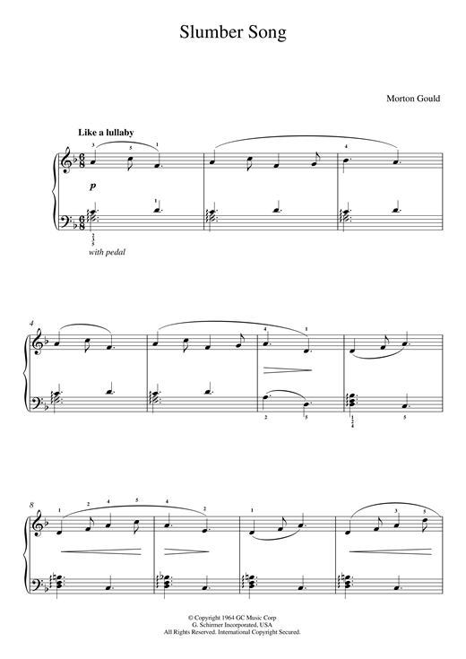 Morton Gould Slumber Song (From 'At The Piano') sheet music notes and chords. Download Printable PDF.