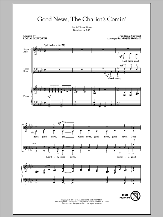 Traditional Spiritual Good News, The Chariot's Comin' (arr. Moses Hogan) sheet music notes and chords. Download Printable PDF.