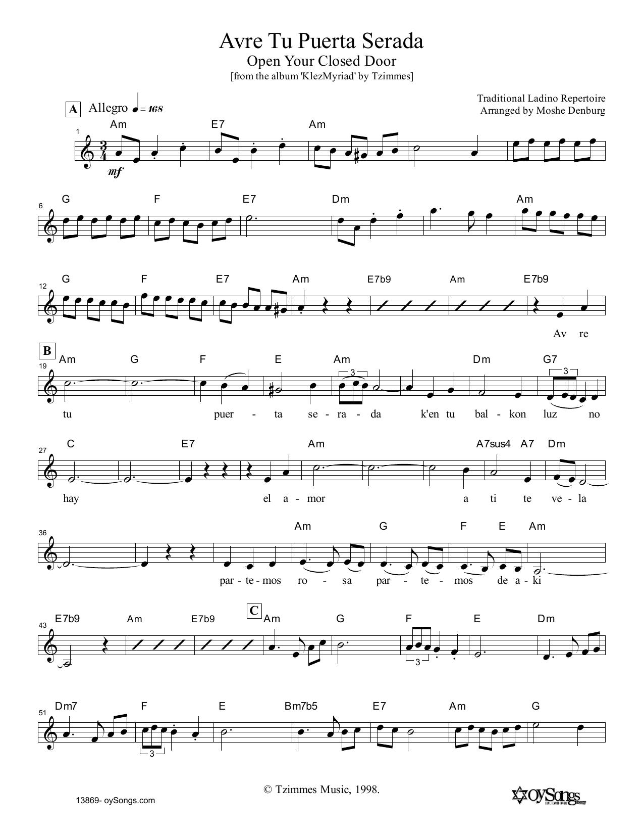 Moshe Denburg Avre Tu Puerta Serada sheet music notes and chords. Download Printable PDF.