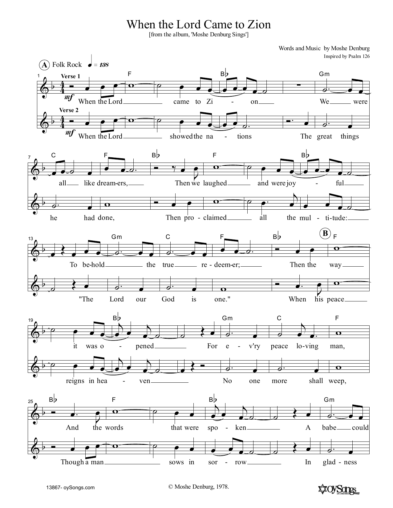 Moshe Denburg When The Lord Came To Zion sheet music notes and chords. Download Printable PDF.