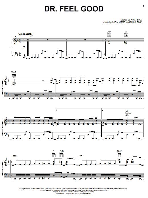 Motley Crue Dr Feel Good Sheet Music Pdf Notes Chords Pop Score Easy Guitar Tab Download Printable Sku 77323
