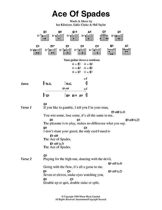 Motorhead Ace Of Spades sheet music notes and chords. Download Printable PDF.