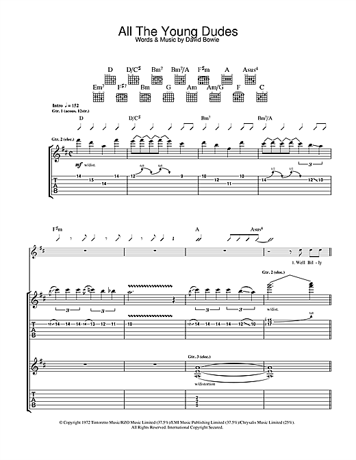 Mott The Hoople All The Young Dudes sheet music notes and chords. Download Printable PDF.