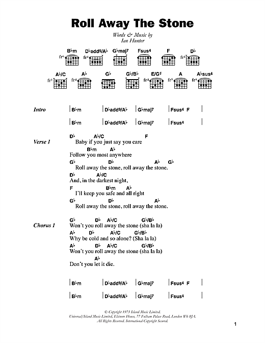 Mott The Hoople Roll Away The Stone sheet music notes and chords. Download Printable PDF.