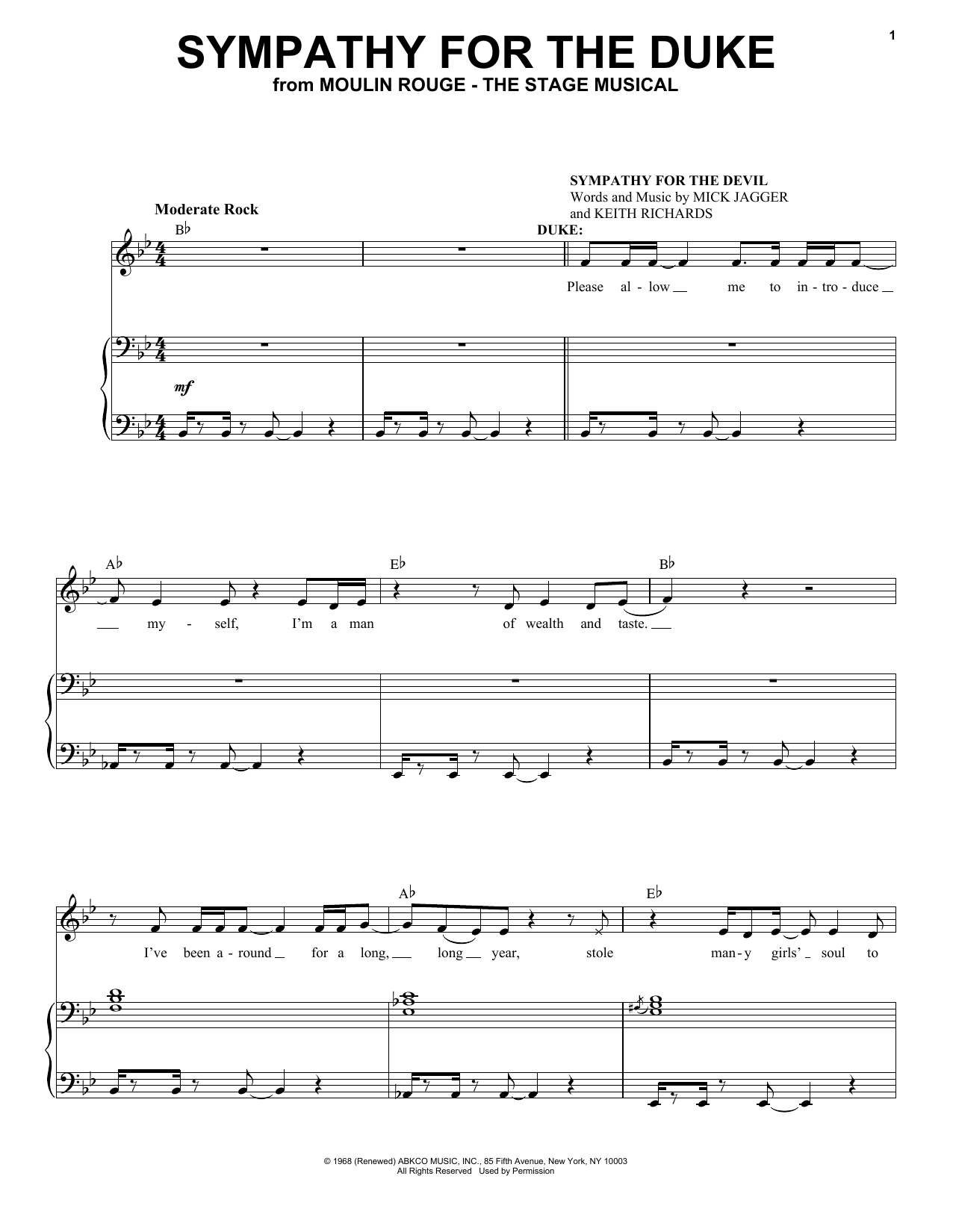 Moulin Rouge! The Musical Cast Sympathy For The Duke (from Moulin Rouge! The Musical) sheet music notes and chords. Download Printable PDF.