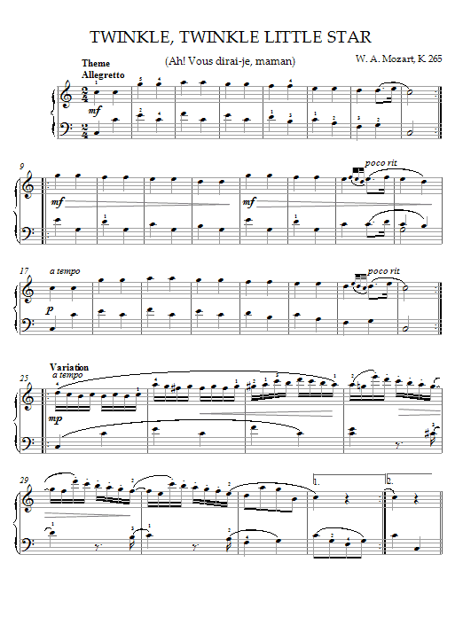 Wolfgang Amadeus Mozart Twinkle, Twinkle, Little Star (Ah! Vous dirai-je, maman) Theme sheet music notes and chords. Download Printable PDF.