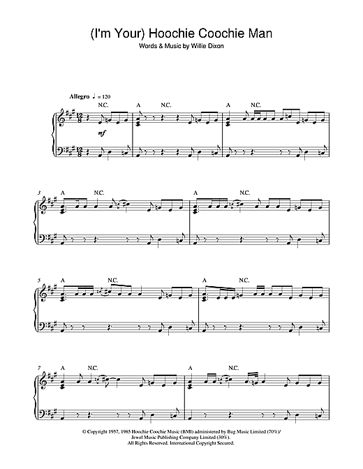 Muddy Waters (I'm Your) Hoochie Coochie Man sheet music notes and chords