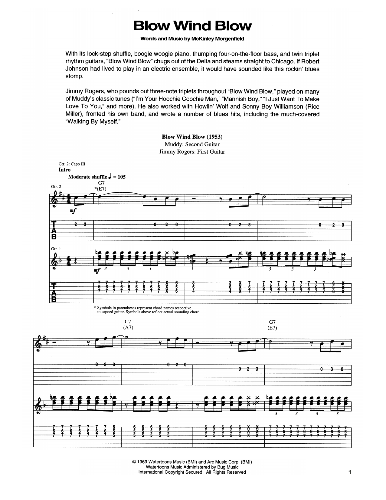 Muddy Waters Blow, Wind, Blow sheet music notes and chords