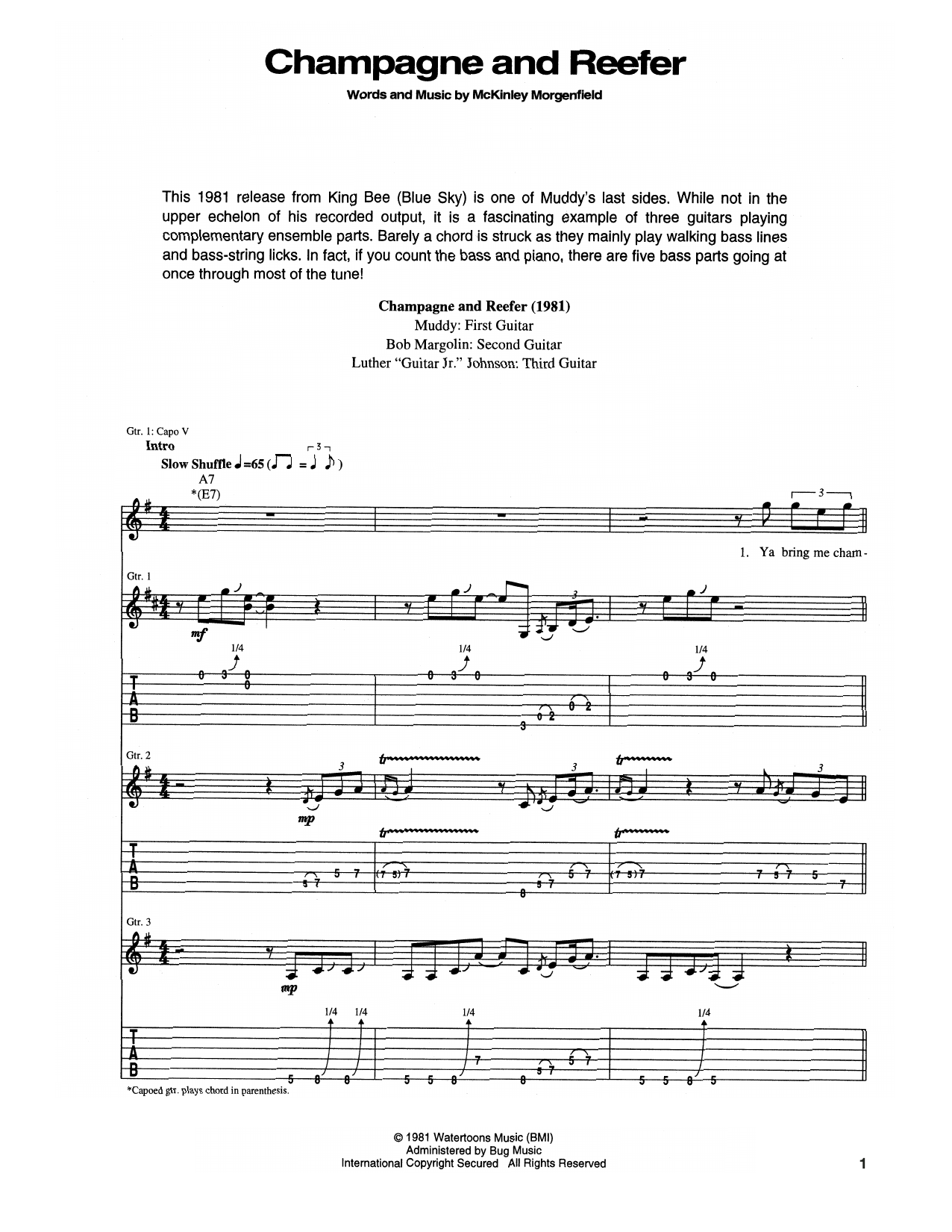 Muddy Waters Champagne And Reefer sheet music notes and chords