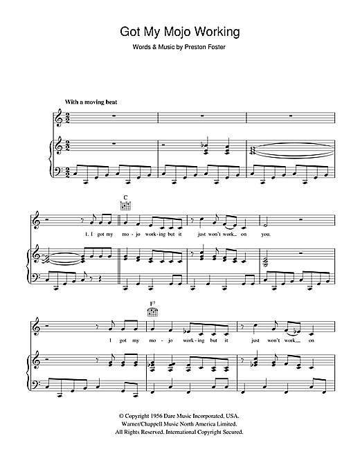 Muddy Waters Got My Mojo Working sheet music notes and chords. Download Printable PDF.