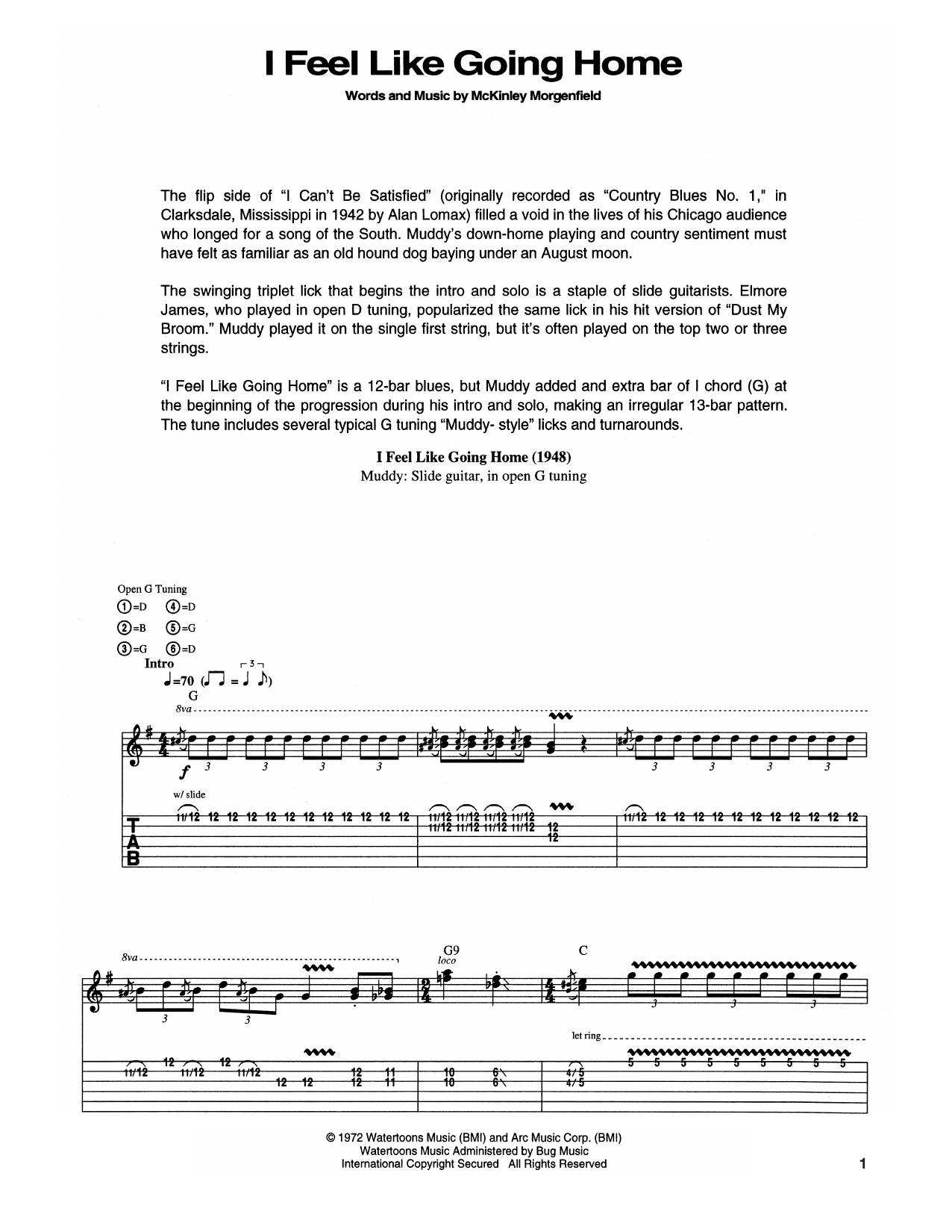 Muddy Waters I Feel Like Going Home sheet music notes and chords