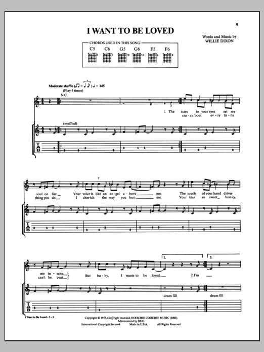 Muddy Waters I Want To Be Loved sheet music notes and chords