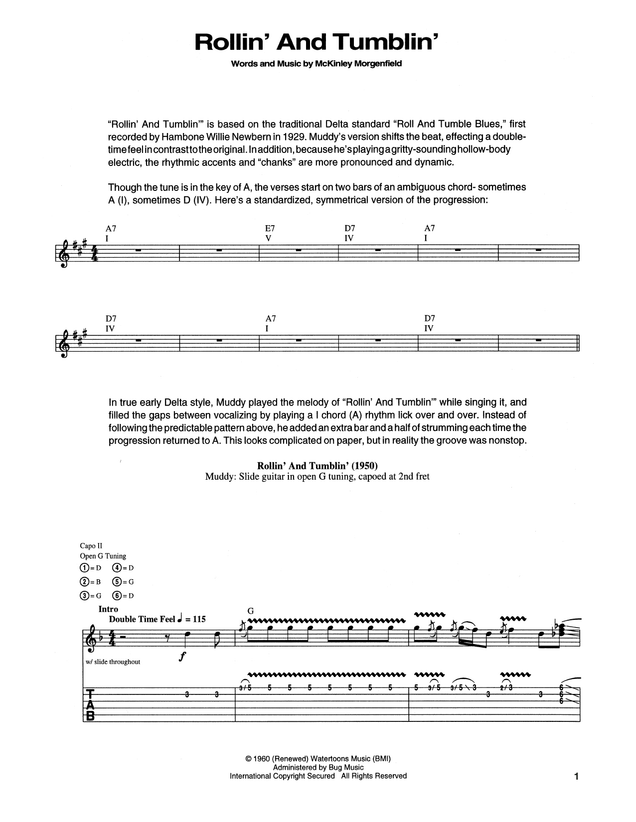 Muddy Waters Rollin' And Tumblin' sheet music notes and chords. Download Printable PDF.