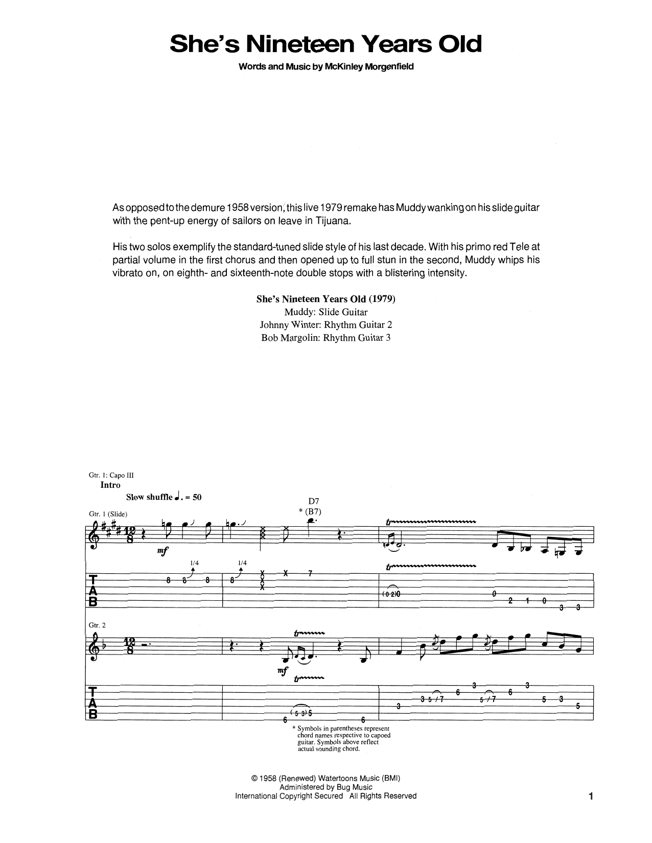 Muddy Waters She's Nineteen Years Old sheet music notes and chords. Download Printable PDF.
