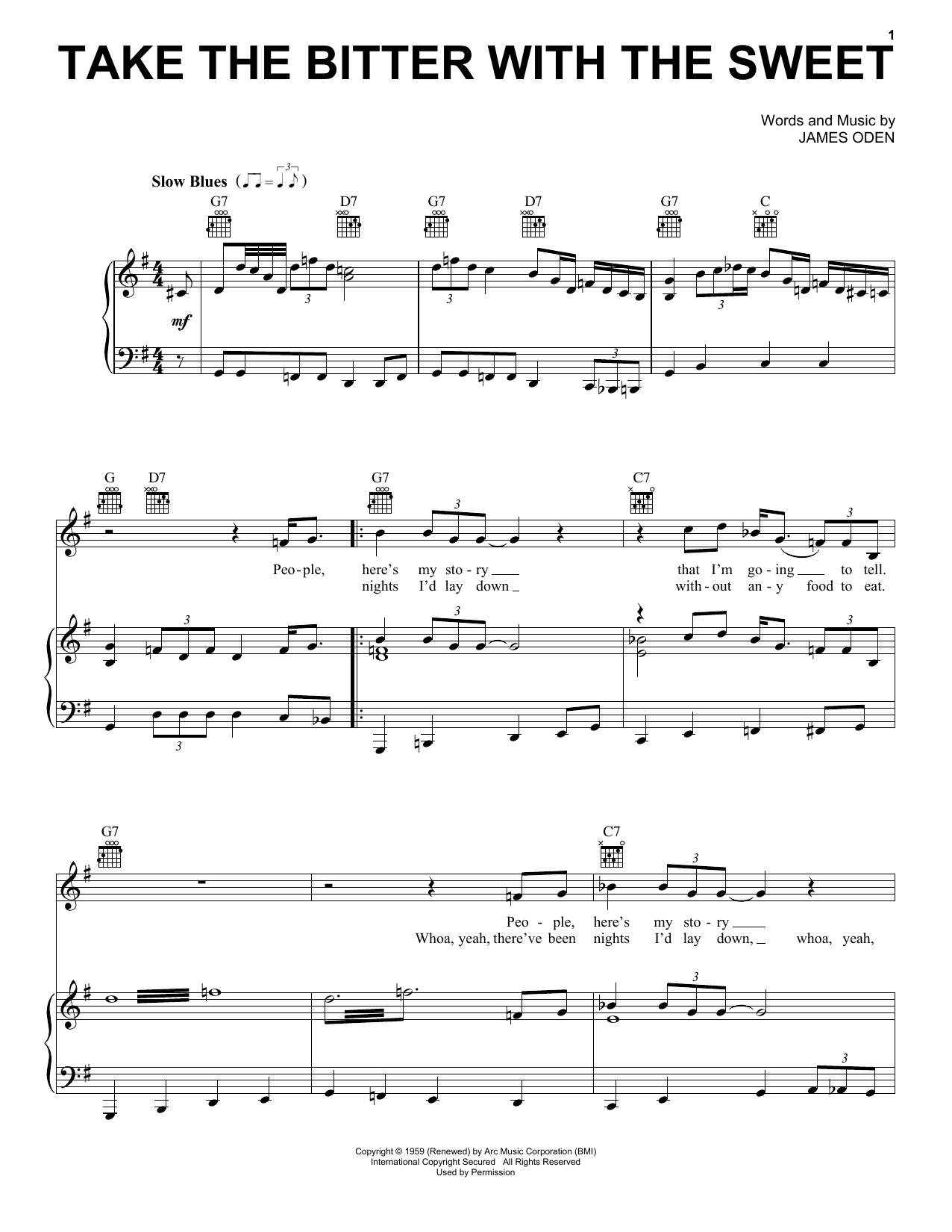 Muddy Waters Take The Bitter With The Sweet sheet music notes and chords