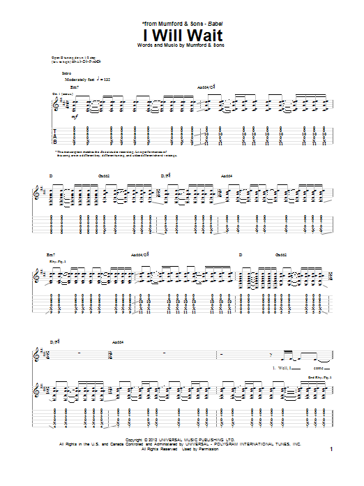Mumford & Sons I Will Wait sheet music notes and chords. Download Printable PDF.