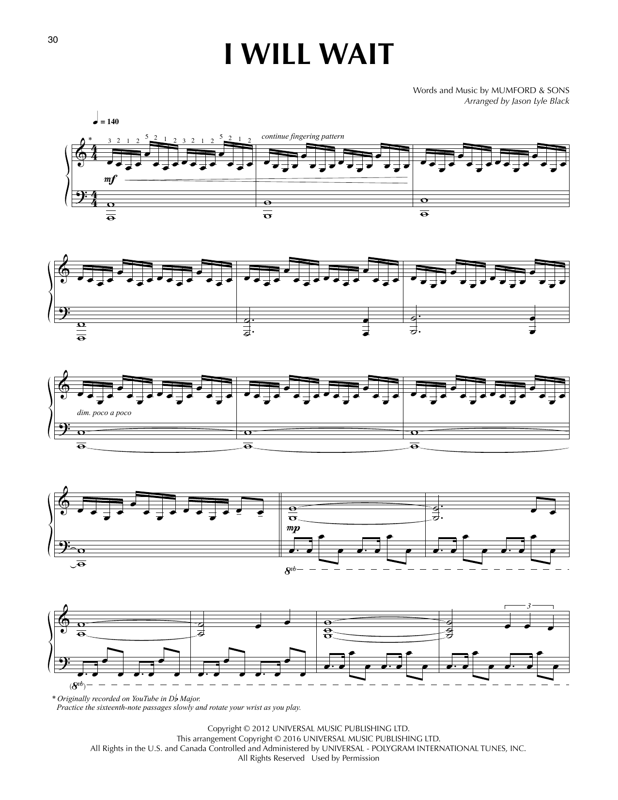 Mumford & Sons I Will Wait (arr. Jason Lyle Black) sheet music notes and chords. Download Printable PDF.