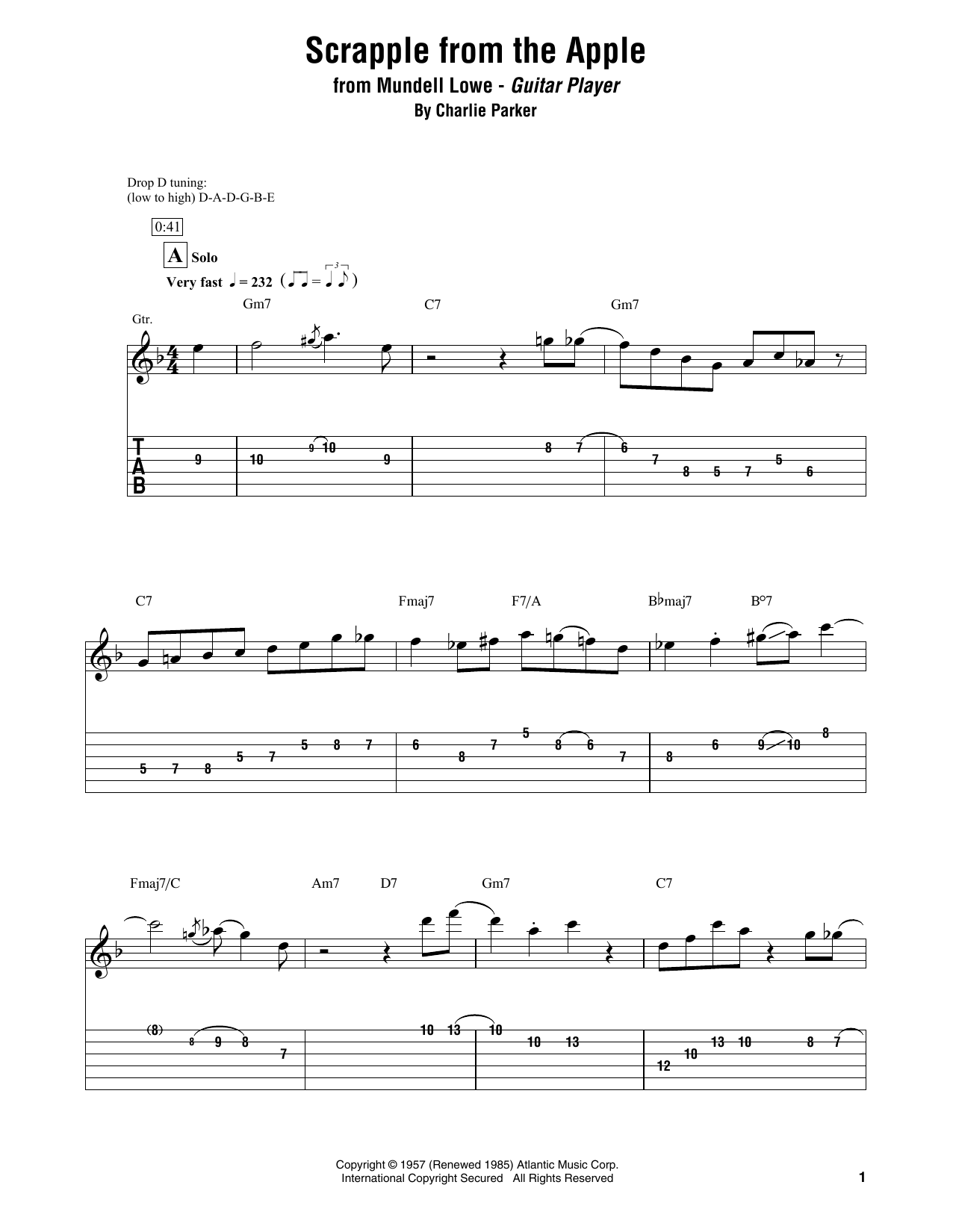 Mundell Low Scrapple From The Apple Sheet Music Pdf Notes Chords Jazz Score Electric Guitar Transcription Download Printable Sku 419166