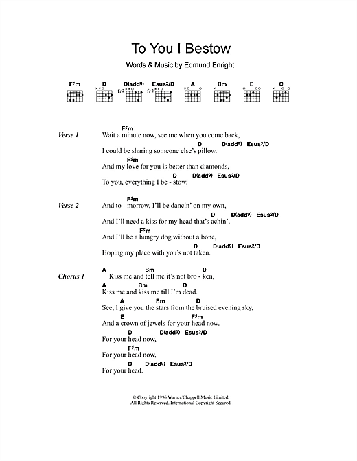 Mundy To You I Bestow sheet music notes and chords. Download Printable PDF.