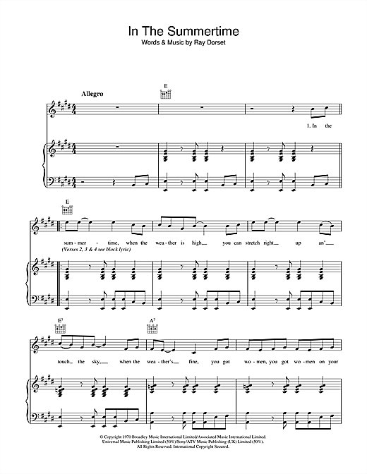 Mungo Jerry In The Summertime sheet music notes and chords. Download Printable PDF.