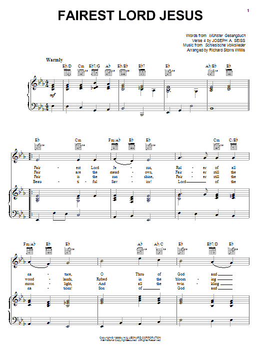 Munster Gesangbuch Fairest Lord Jesus sheet music notes and chords