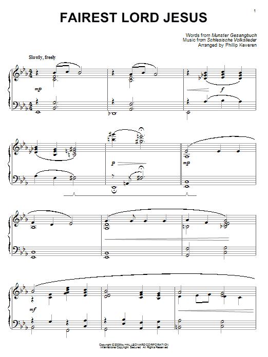 Munster Gesangbuch Fairest Lord Jesus [Jazz version] (arr. Phillip Keveren) sheet music notes and chords. Download Printable PDF.