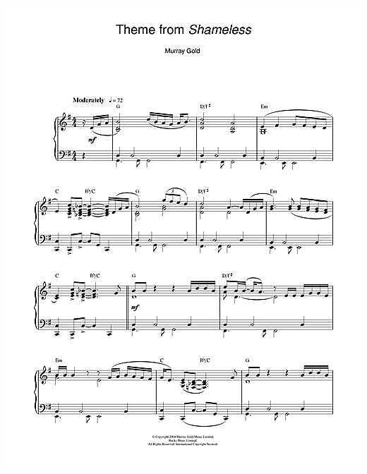 Murray Gold Theme from Shameless sheet music notes and chords. Download Printable PDF.