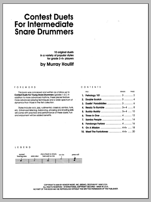 Murray Houllif Contest Duets For The Intermediate Snare Drummers sheet music notes and chords. Download Printable PDF.