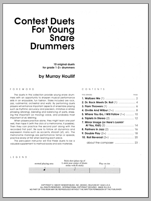 Murray Houllif Contest Duets For Young Snare Drummers sheet music notes and chords. Download Printable PDF.
