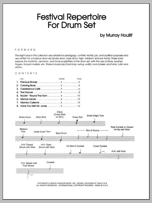 Murray Houllif Festival Repertoire For Drum Set sheet music notes and chords. Download Printable PDF.