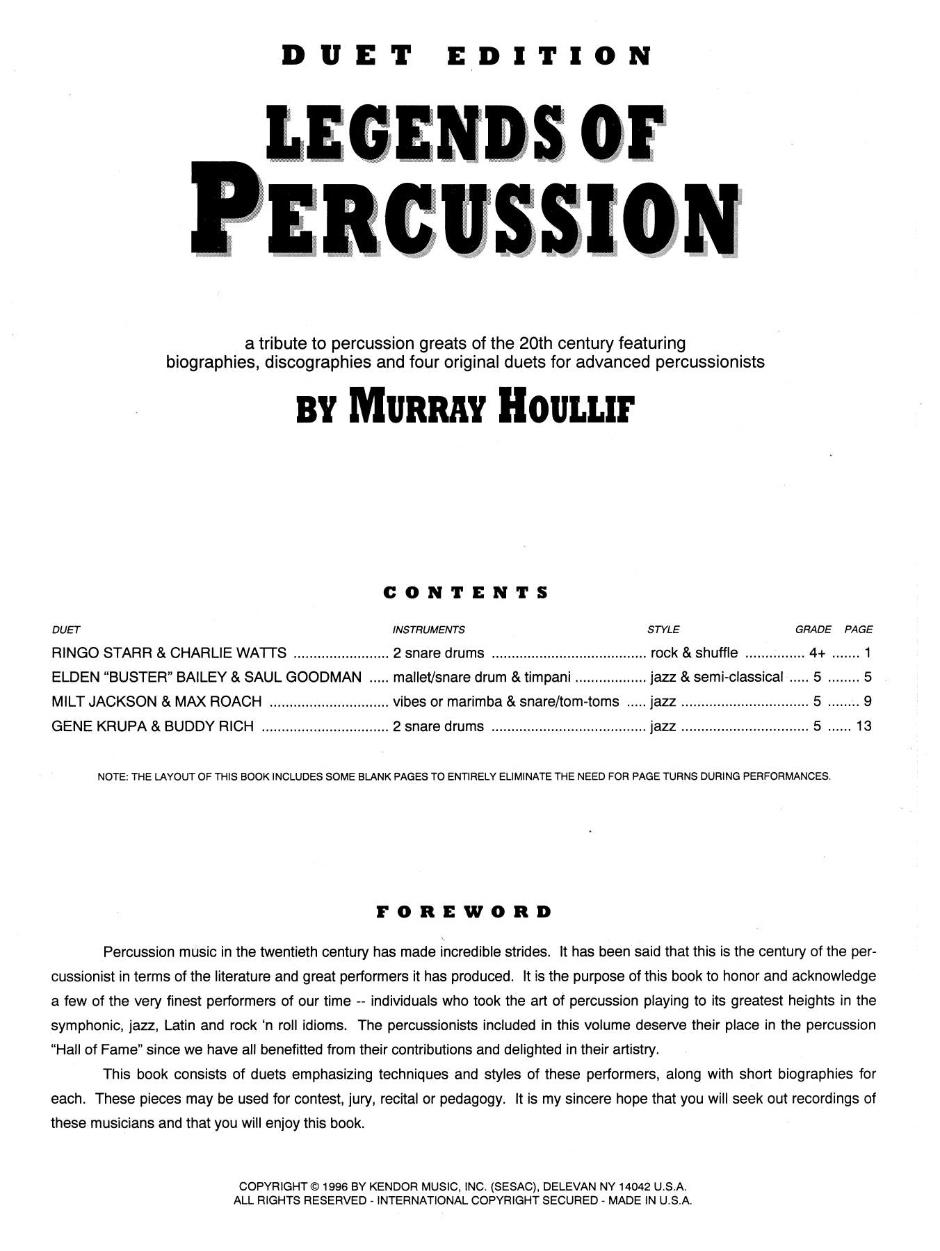 Murray Houllif 'Legends Of Percussion, Duet Edition' Sheet Music Notes,  Chords | Download Printable Percussion Ensemble - SKU: 124965