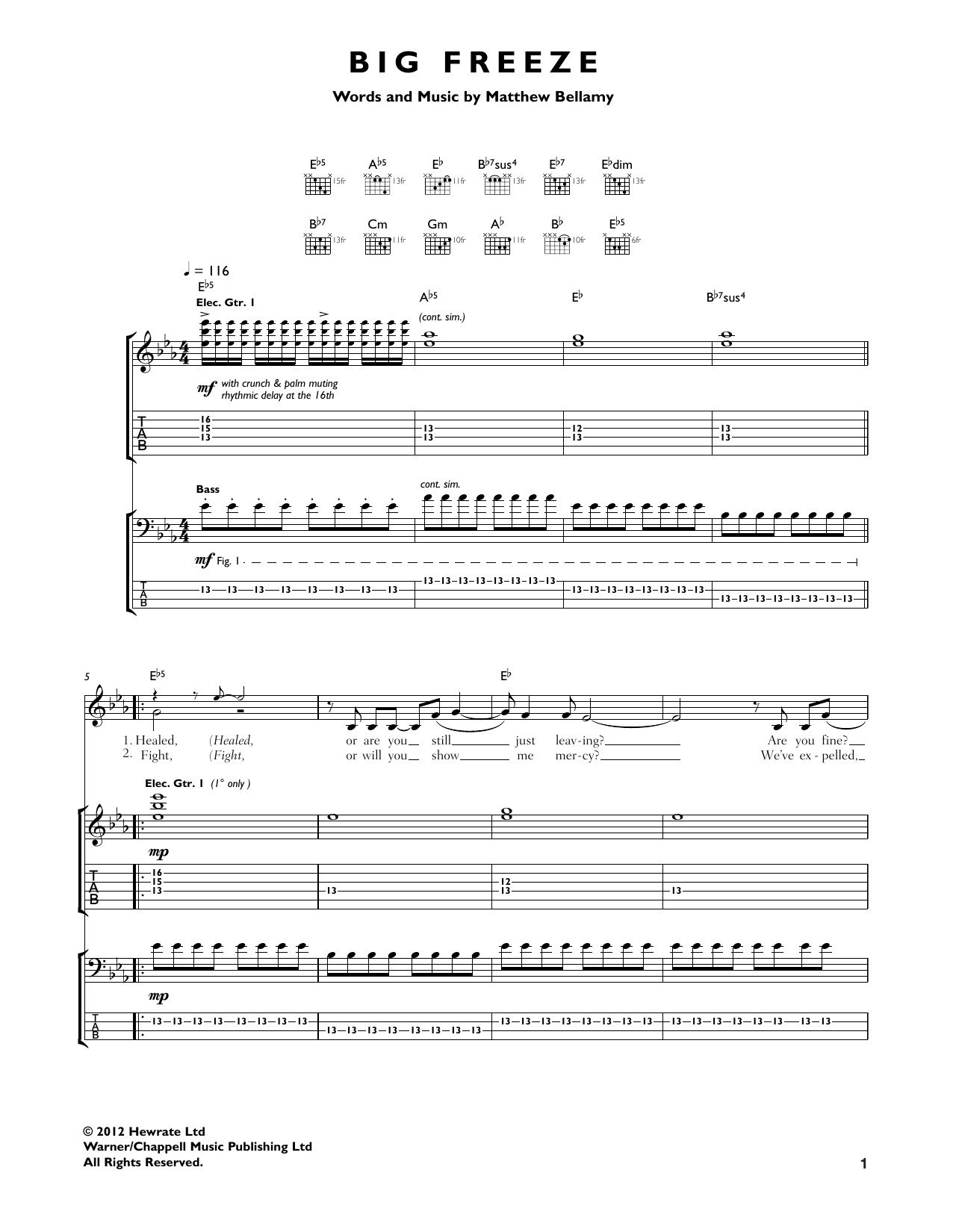 Muse Big Freeze sheet music notes and chords. Download Printable PDF.