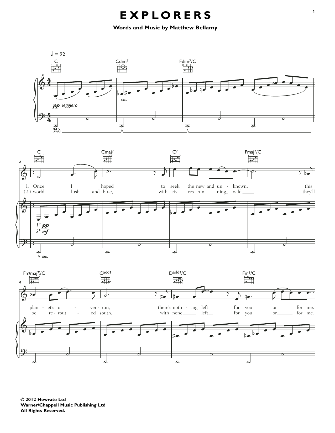 Muse Explorers sheet music notes and chords. Download Printable PDF.