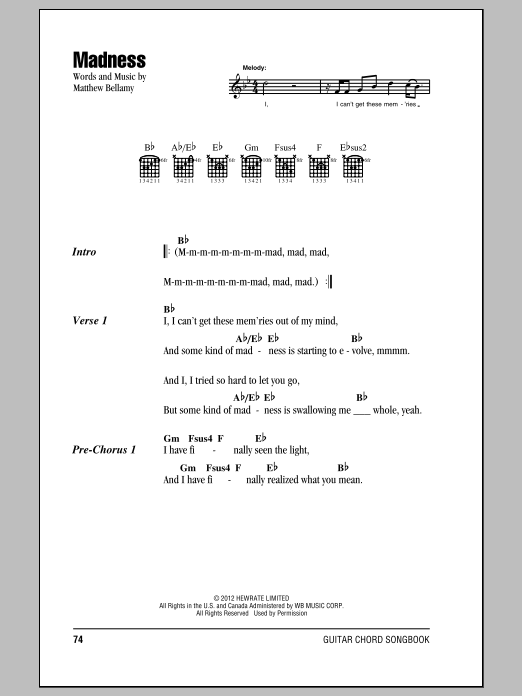 Muse Madness sheet music notes and chords. Download Printable PDF.