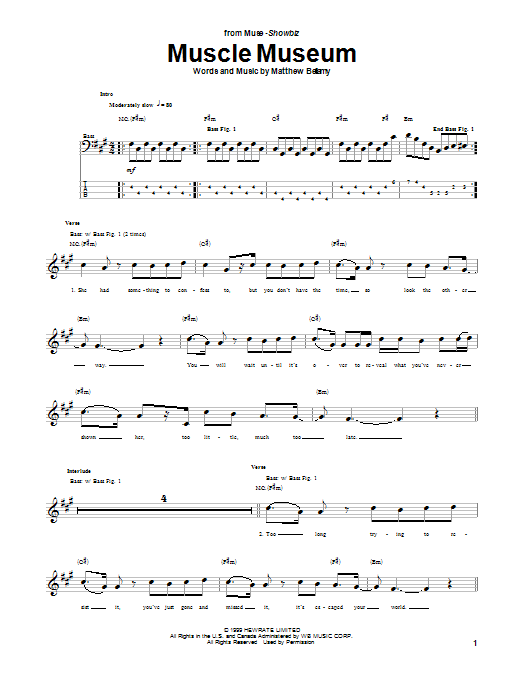 Muse Muscle Museum sheet music notes and chords