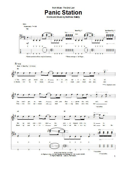 Muse Panic Station sheet music notes and chords. Download Printable PDF.