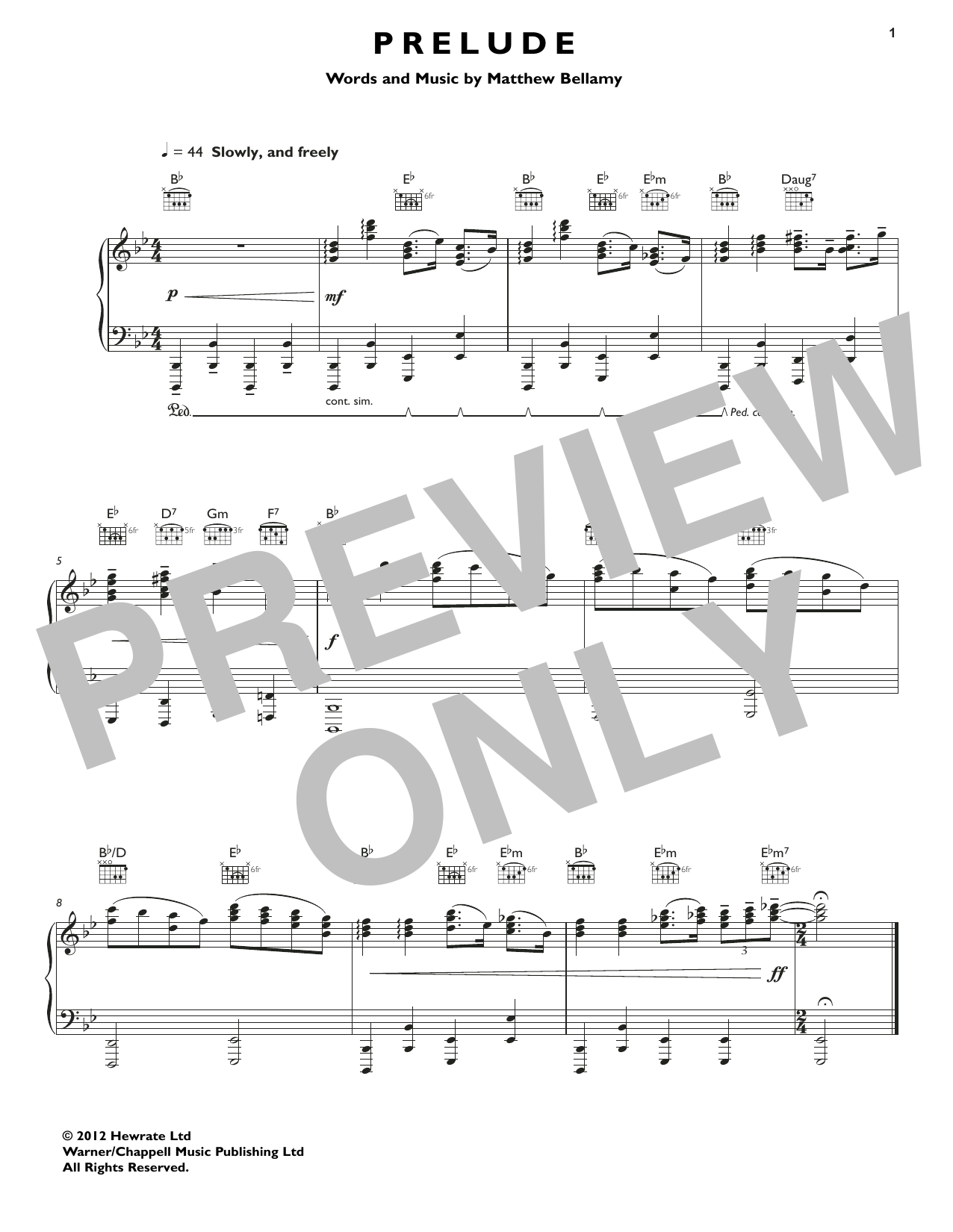Muse Prelude sheet music notes and chords. Download Printable PDF.