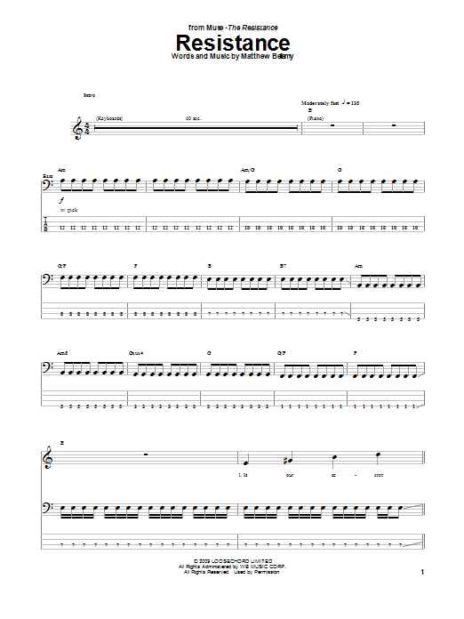Muse Resistance sheet music notes and chords. Download Printable PDF.