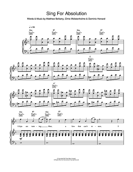 Muse Sing For Absolution sheet music notes and chords