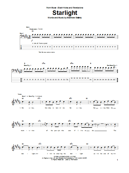 Muse Starlight sheet music notes and chords. Download Printable PDF.