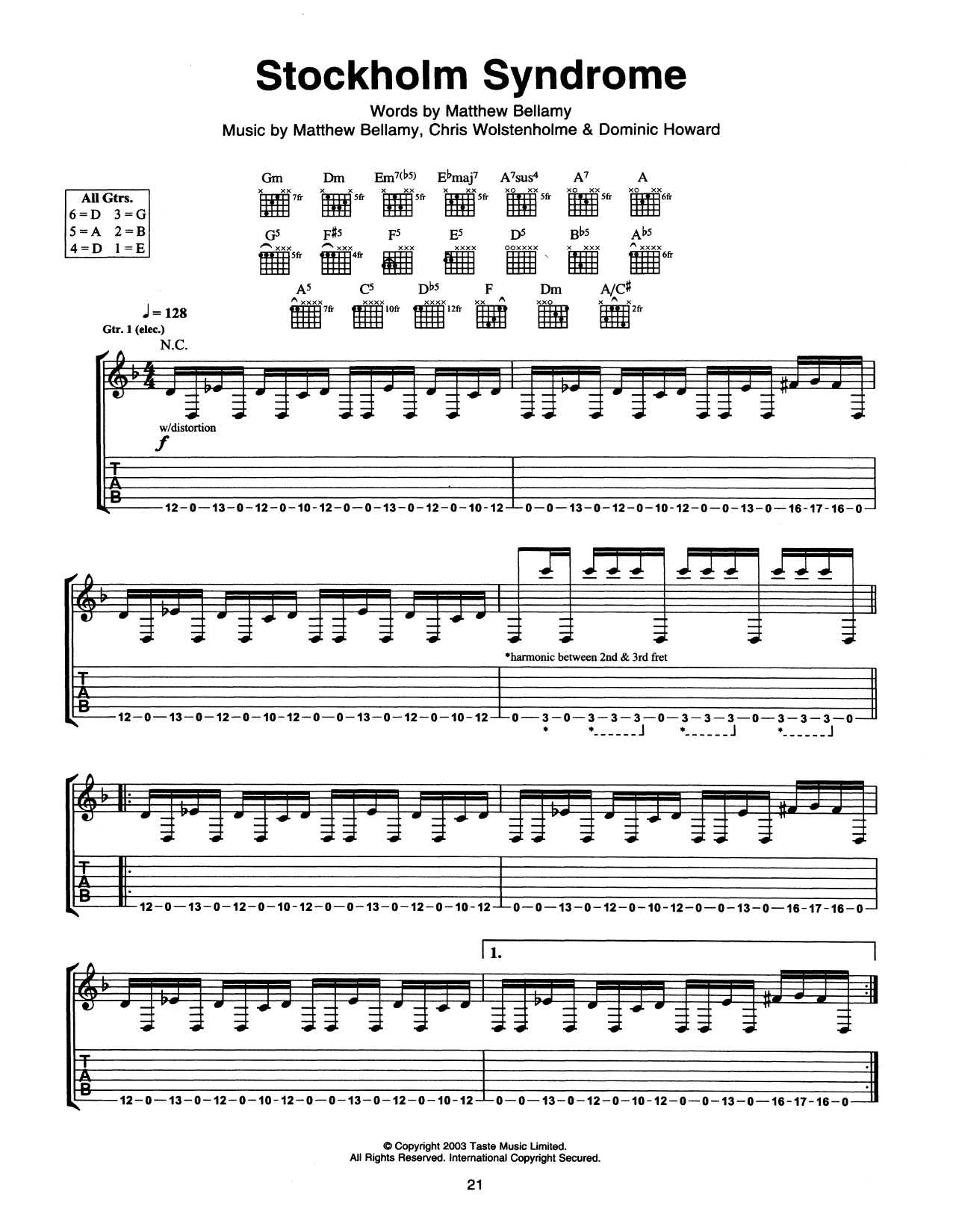 Muse Stockholm Syndrome sheet music notes and chords. Download Printable PDF.