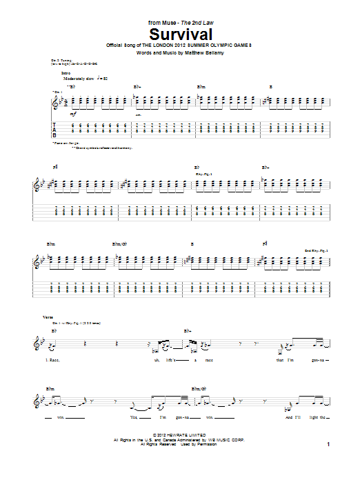 Muse Survival sheet music notes and chords